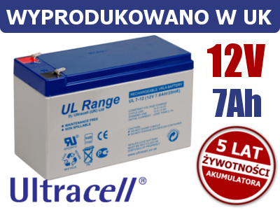AKUMULATOR ŻELOWY 12V 7Ah ULTRACELL LIMITED